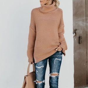 968011c925d3 Sweaters - Beige Khaki Turtle neck oversized sweater